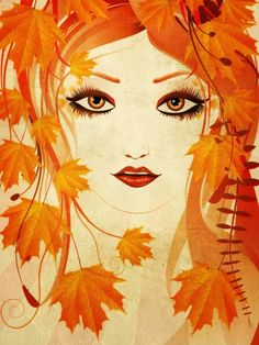 Face of Girl in Autumn Art from $59.99 | www.wallartprints.com.au #AutumnArt #NaturePictures
