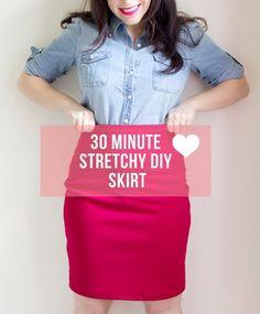 30 Minute Stretchy DIY Skirt. <a href=