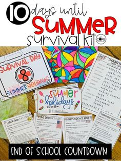 Survive the final days until summer with these fun lesson plans that will fill the last 10 days of class. Full lesson plans for the last 10 days of school. Countdown to the end of year with this kit.