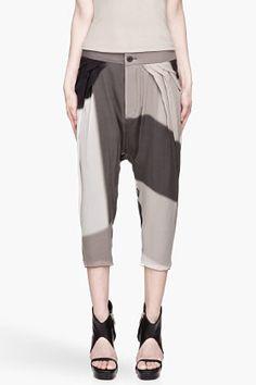 RICK OWENS Grey and black Flounced Cropped silk harem pants