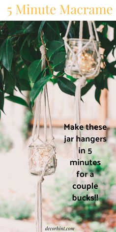 This is a diy macrame jar hanger tutorial. Macrame is still popular as ever! Today I'm going to show you how to make these DIY Macrame Jar Hangers in literally 5 minutes! And - I used leftover yogurt jars! These look so pretty - I'm obsessing over them. Hanging Jars, Diy Hanging, Plants In Jars, Small Plants, Macrame Plant Hangers, Macrame Cord, Macrame Knots, Macrame Projects, Diy Projects
