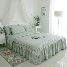 Luxury Ruffle Lace 100% Cotton Bedding Set ID-evo65554  Price: 158.99 € & FREE Shipping  #Pillowcases Cotton Bedding Sets, Cotton Duvet, Duvet Sets, Duvet Cover Sets, Twin Size Bed Sheets, Bed Sheet Sets, Flat Bed, Bed Covers, King Queen