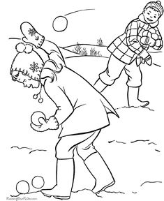 Free kids printable Christmas coloring pages - Snowball fight!