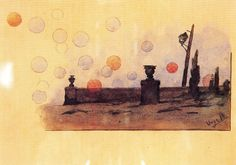 "Modest Urgell Inglada (1839 - 1919). ""Fantasia"". Dibujo sobre papel tinta carboncillo y acuarela. 11 x 20 cm"