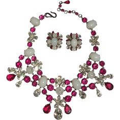 BREATHTAKING 1959 Christian Dior Choker Necklace and Clip-On Earring Set