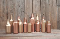 15 Painted jars. Vases. Copper, rose gold, blush gold, Wedding centerpiece, new years decor, party decor. Gold painted. on Etsy, 56,00 €