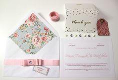 DIY Wedding Invitation Printed Envelope   Faça Você Mesmo Convite de Casamento com Envelope Estampado, Tag e Laço Chanel  Acesse o blog para fazer download da papelaria =D