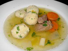 Original German soup recipe for marrow bone dumpling soup which is a classic German soup in Germany.