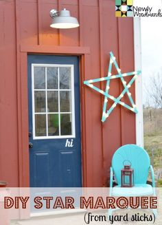 Make a primitive DIY marquee star with inexpensive yard sticks. Click over for the full step-by-step instructions. (Hint: It's super easy to put together.)