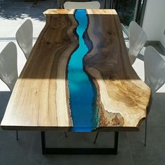 What is a river table? and How to make amazing river table with stylish epoxy river table designs for your interior, what advantage and disadvantage for the epoxy table, how to place it in the interior Resin Table Top, Wood Resin Table, Resin Furniture, Painted Furniture, Natural Furniture, Table Wood Design, Table Designs, Natural Wood Table, Design Tisch