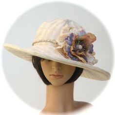 SUN HAT - cotton/linen; vintage textile flower - Rosehip Hat Studio