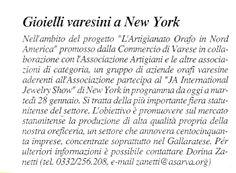 La Prealpina - Gioielli varesini a New York - Anno 2003