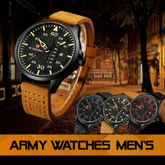 Army Watches Men's Army Watches, Watches For Men, Leather Box, Omega Watch, Band, Accessories, Sash, Men's Watches, Bands