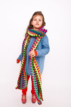 3 meter long multicoloured shawl , bright and colourful