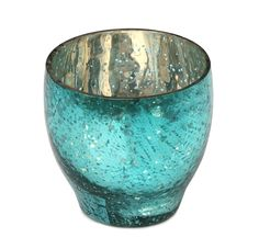 "Lightning Pot - #Buy #Wholesale #Handmade  3.5"" Dotted Glass #Tealight #Candle Holder In #Turquoise & Silver Color - #HomeDecor"