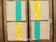Items similar to Set of 4 Quilted Coasters - Teal and Yellow on Etsy Quilted Coasters, Teal Yellow, Nerdy, Wedding Decorations, Owl, Unique Jewelry, Handmade Gifts, Crafts, House