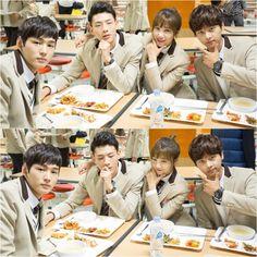 Lee Won Geun, Ji Soo, Eunji, and N on the set of Cheer Up!