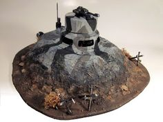 Completed Bunker for Warhammer 40k -Front Right View. Tutorial