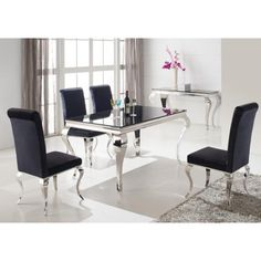 Louis 160cm Black And Chrome Dining Table Only