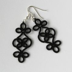 Classic or gothic – what do you think? Black handmade earrings made using retro lacemaking technique – frivolite. Unique design, very lightweight and elegant. Slightly stiffened with fa…