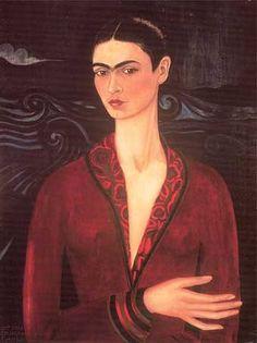 """Kazadan bir ay sonra hastaneden çıkan Kahlo, ailesinin teşviki ile sıkıntı ve acıdan kaçmak için resim yapmaya başladı. Yatağının tavanındaki aynaya bakarak oto-portreler yaptı. İlk otoportresi, """"Kadife Elbiseli Otoportre""""'dir."""