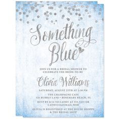 Something Blue Bridal Shower Invitations - Printed Bridal Shower Invitations - Digital Glitter - Silver and Blue