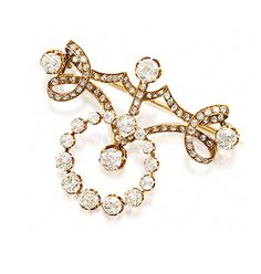 18 KARAT GOLD AND DIAMOND BROOCH, FRENCH, CIRCA 1860.  Designed as an openwork bar of scrolling ribbon supporting an open circle, set with 19 old European-cut and old-mine diamonds weighing approximately 3.50 carats and with numerous rose-cut diamonds, maker's mark and assay mark, 1 diamond missing.