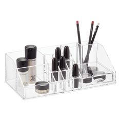 I like this cosmetics organizer from The Container Store because it keeps everything right at hand and available.  The line includes many options and configurations - $12-$36.   Acrylic Makeup Organizer With Drawer, $25.