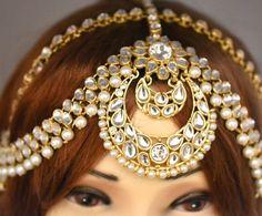 Gold Crystal Two Row Pearl Indian Matha Patti Tikka Head Chain ...