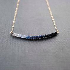 Ombre Sapphire Necklace, Blue Sapphire Necklace, Ombre Necklace, Sapphire Jewelry by SongYeeDesigns on Etsy https://www.etsy.com/listing/175923096/ombre-sapphire-necklace-blue-sapphire