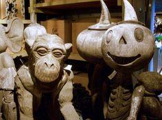Decoration Cute Wooden Monkey And Pumpkin Head Halloween Statue For Beautiful Decoration Focusing On Cute Wooden Sandpaper Monkay Sculpture,...