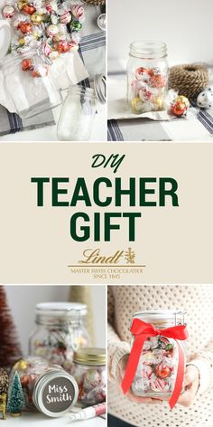 Filling a mason jar with Lindt LINDOR truffles is the perfect DIY gift this holiday season!