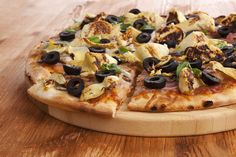 Hand-tossed, thin crust pizza topped with home-made tomato sauce, black olives, artichokes, salami and mozzarella.