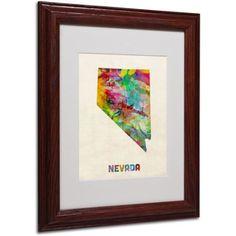 Trademark Fine Art Nevada Map Matted Framed Art by Michael Tompsett, Wood Frame, Size: 16 x 20, Brown