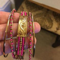 Bangle bracelets set Very pretty pink and gold .. Not tarnished...worn once Jewelry Bracelets