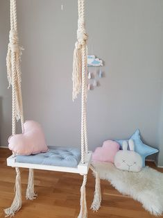 The Wooden Indoor Swing Blue will take your kids to the moon and back with a little bit of fun🌛🌛 Link in bio to.The Wooden Indoor Swing Blue will take your kids to the moon and back with a little bit of fun🌛🌛 Link in bio to shop ⠀ Girl Room, Girls Bedroom, Bedroom Decor, Bedroom Swing, Indoor Swing, Indoor Outdoor, Porch Swing, Handmade Home Decor, Handmade Wooden