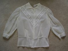Vintage 1950's Sheer Ivory Nylon Lace Blouse by TheLastPixie