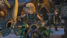 Astrid and Stormfly's babies - oh my!! Hiccup in the background!  x)