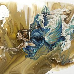 Browse through images in Karina Llergo's Fly High collection.  Fly High is a series of acrylic paintings of underwater or floating human bodies in motion. This figurative paintings of acrylic flows turn solid figures into liquid interacting...