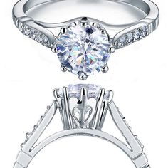 2ct Round Cut Simulated Diamond 925 Sterling Silver Engagement Ring  #engagementring