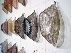 Tracy Krumm – why not hang a display like this, it's a way to live with your… - FIBER ART Textile Sculpture, Textile Fiber Art, Textile Artists, Soft Sculpture, Metal Sculptures, Abstract Sculpture, Bronze Sculpture, Wire Crochet, Crochet Art