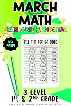 These differentiated, NO PREP digital (Google Slides) and printable spring math activities are perfect for March in 1st grade and 2nd grade classrooms! Each page comes in 3 differentiated levels! Use for guided math, centers, homework, assessment, or additional practice. Perfect for in-person or distance learning! Includes 15 differentiated activities such as Shamrock Skip Counting, Rainbow Sums, Rainy Day Riddle, and MUCH MORE! Get this must have March math resource today!