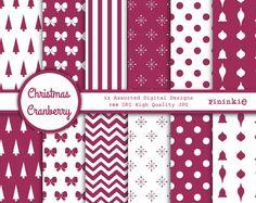 Cranberry Christmas Digital Paper Digital Scrapbook by Pininkie, $4.00