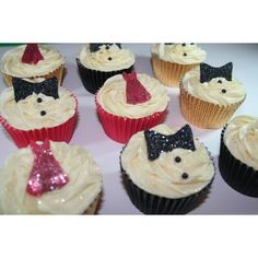 bow ties and dresses glittery cupcakes