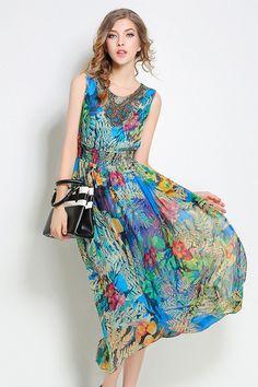 $60.99 Multicolor Floral Silk Dress