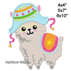 Machine Applique Designs, Hand Applique, Applique Embroidery Designs, Machine Embroidery Applique, Alpaca Stuffed Animal, Cute Alpaca, Different Types Of Fabric, W 6, Digital Pattern