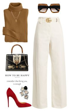 """Be happy!"" by yexyka ❤ liked on Polyvore featuring The Row, Gucci, Mary Louise Designs, Christian Louboutin, Bobbi Brown Cosmetics, contestentry and polyPresents"