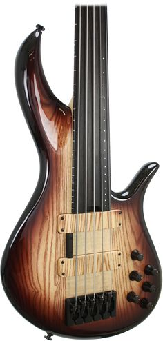 F Bass BNF fretless 5-string - RESEARCH #cSw:) - https://www.pinterest.com/claxtonw/bass-foundation/ - BASS FOUNDATION. Super cool wood grain look even for the pickups! BNF Series produces more of a traditional fretless tone than  AC lines. Solid body woods provide a very solid low end with plenty of midrange for punch and growl. 2 separate volumes let you blend the 2 pickups in any amount of each, not limiting you to the fixed levels of a blend control.