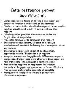 French: Comment écrire un rapport de recherche: concepts/activités/rubriques Concepts, Questions, Writing Skills, Have Time, Assessment, The Unit, Student, Teaching, Rubrics