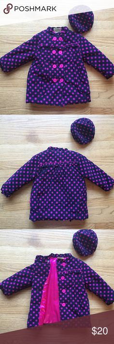 Toddler Girl corduroy winter peacoat style jacket NWOT toddler girls peacoat style winter jacket with matching hat.Dark navy and hot pink polka dot. Cute ruffles at cuff and across chest and shoulder and collar. penelope mack Jackets & Coats Pea Coats